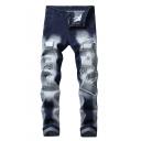 Men's New Fashion Embroidery Detail Blue Whitewashing Denim Jeans