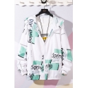 Funny SPRING Letter Printed Long Sleeve Hooded Zip Placket Unisex Sun Protection Coat