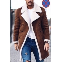 Men's New Fashion Plain Notched Lapel Collar Long Sleeve Open Front Corduroy Coffee Overcoat