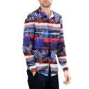 Men's Vintage Stripes Print Button-Up Long Sleeve Lapel Collar Blue Shirt