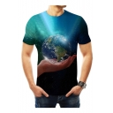 Mens New Trendy Short Sleeve Round Neck 3D Earth Hand Printed Blue T Shirt
