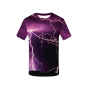 Mens New Stylish Short Sleeve Round Neck Lightning Printed Purple T Shirt For Men