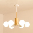 Contemporary Branching Chandelier Light Cream Glass 6 Light Suspended Light in White