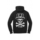 Cool Fashion Letter 1720 Skull Printed Black Long Sleeve Hooded Sports Hoodie