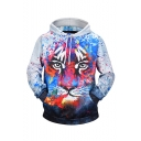 Creative Fashion Spray Paint Lion 3D Printed Long Sleeve White Casual Loose Hoodie