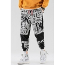 Men's Cool Fashion Colorblock Letter All-Over Printed Drawstring Waist Trendy Loose Track Pants