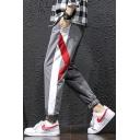 Men's New Fashion Contrast Stripe Side Drawstring Waist Elastic Cuff Casual Sports Track Pants