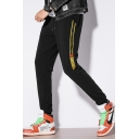 Men's Popular Fashion Contrast Stripe Printed Drawstring Waist Casual Sports Track Pants