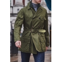 Men's New Stylish Long Sleeve Lapel Collar Plain Belt Detail Single Breasted Trench Coat