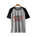 Star Letter SCOTT Print Color Block Short Sleeve Round Neck Relaxed T-Shirt