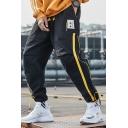 Designer Fashion Contrast Zip Embellished Letter Printed Drawstring Waist Sports Pants Loose Fit Cargo Pants for Men