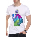 Summer Funny Skull Figure Printed Round Neck Short Sleeve White Tee