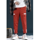 New Stylish Colorblock Patched Drawstring Waist Mens Casual Sports Straight Loose Cargo Pants with Side Pocket