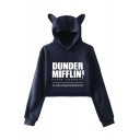 Dunder Mifflin Hot Popular Letter Printed Cute Cat Ear Design Long Sleeve Crop Hoodie