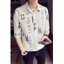 Men's Summer Fashion Letter Printed Half Sleeve Lapel Collar Button-Up Casual Slim Fitted Shirt