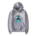 Letter Keep Surfing Cartoon Shark Printed Long Sleeve Drawstring Hooded Casual Cotton Hoodie
