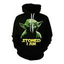 Popular Fashion Letter STONED I AM Comic Figure 3D Printed Drawstring Hooded Long Sleeve Casual Black Hoodie
