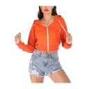 New Fashion Simple Basic Plain Long Sleeve Zip Up Orange Cropped Hoodie