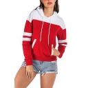 New Stylish Color Block Striped Print Long Sleeve Pocket Red Hoodie