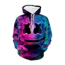 Hot Fashion Smiley Face Paint 3D Printed Purple Long Sleeve Casual Loose Drawstring Hoodie
