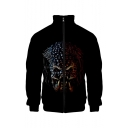 New Stylish Unique 3D Alien Printed Stand-Collar Long Sleeve Zip Placket Black Baseball Jacket