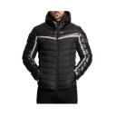 Men's Stylish Simple Colorblock Print Zip Closure Long Sleeve Stand Collared Hooded Padded Coat