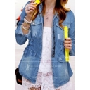 Womens Standing Collar Gathered Waist Flap Pockets with Press-Stud Fastening Distressed Denim Jacket