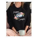 Happy Camper Letter Flower Printed Round Neck Long Sleeve Black Leisure Pullover Sweatshirt
