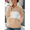 New Stylish Half-Zip Stand Collar Color Block Long Sleeve Fluffy Teddy Pullover Sweatshirt