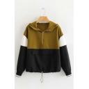Half-Zip Front Color Block Long Sleeve Hoodie with Pocket
