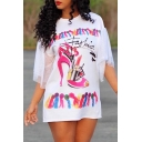 Womens New Trendy High-Heel Shoe Printed Round Neck Short Sleeve Mesh Patched WhiteT-Shirt