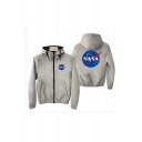 Mens Hot Sale Letter NASA Print Long Sleeve Zip Up Fitted Casual Jacket
