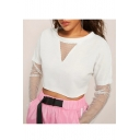 Summer Hot Trendy Plain Round Neck Long Sleeve Sheer Patched Sexy Cropped White Tee