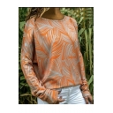 Hot Fashion Long Sleeve Round Neck Plant Printed Casual T-Shirt For Women