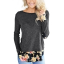 Womens New Fashion Round Neck Long Floral Patch Print T-Shirt