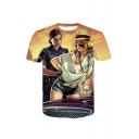 Mens Fashion Sexy 3D Comic Character Printed Short Sleeve Round Neck T-Shirt