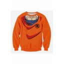 Comic 3D Printed Cosplay Costume Round Neck Long Sleeve Orange Pullover Sweatshirts