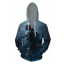 Comic Figure 3D Printed Drawstring Hooded Long Sleeve Navy Zip Up Hoodie