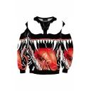 Cool Fashion 3D Printed Round Neck Long Sleeve Black Loose Pullover Sweatshirts