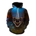 Cool Unique Clown Figure 3D Printing Long Sleeve Sport Loose Pullover Hoodie
