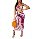 Ladies Sexy Tie-dyed Color Print Sleeveless Strap Cami with Maxi Pencil Skirts Co-ords
