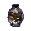 New Fashion American Eagle 3D Printed Drawstring Hooded Long Sleeve Purple Pullover Hoodie