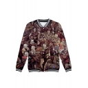 Mens Unique Cool Comic Figure Print Stand Collar Long Sleeve Baseball Jacket