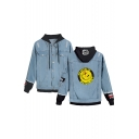 Hot Popular Letter WATCHMEN Smile Figure Printed Ripped Long Sleeve Single Breasted Denim Jacket Coat