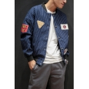Mens Classic Stand-Collar Long Sleeve Single Breasted Striped Print Badge Baseball Jacket