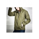 Men's New Stylish Simple Plain Long Sleeve Zip Up Windproof Hooded Trench Jacket