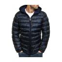Men's New Stylish Long Sleeve Camouflage Print Zipper Slim Fit Hooded Padded Coat