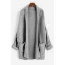 Womens Casual Grey Plain Long Sleeve Ribbed Knit longline Cardigan with Pockets