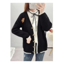 Ladies Lovely Campus Style Elephant Embroidered Patterns V Neck Long Sleeve Cardigan