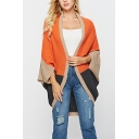 Hot Sale Colorblock Print Batwing Sleeve Open Front Longline Cardigan for Women